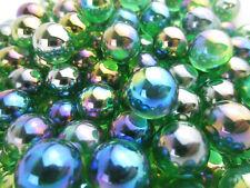 25 Glass 16mm LUSTERED GREEN Marble Vase Filler Wedding Decor Metalic Iridescent
