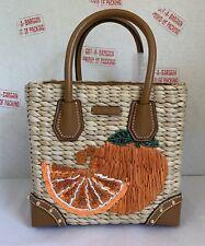 ddc31559aa91 Michael Kors Malibu Medium Natural Tangerine Straw Crossbody Satchel Bag
