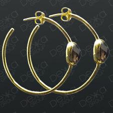 18K Gold On Sterling Silver Vermeil Hoop Earrings Smokey Quartz Smoky Gemstone