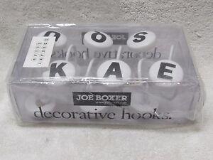 Joe Boxer 12 Decorative Rolling Shower Curtain Rings Hooks White / Black Letters