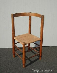 Vintage French Country Oak & Rush Corner Chair Farmhouse Chic