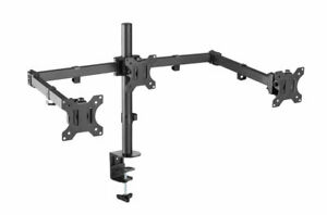 Xenta Triple Monitor Mount for 13-27inch Screens | Double Arm Desk Stand Bracket