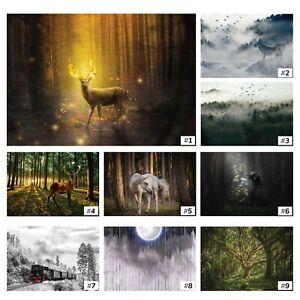 Fototapete TIERE Tapete Vlies Hirsch Wolf Pferde Natur Landschaft Wohnzimmer XXL