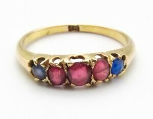 Vtg 14K Gold Natural Ruby Blue Sapphire Ring Sz 6.25 Single Row Antique Band