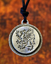 Griffin Pendant | Rampant Griffon Necklace Handcrafted Jewelry in Fine Pewter