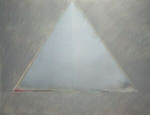Catherine LeCleire Original Signed Mixed Media-Triangle/Geometric Abstract-1982