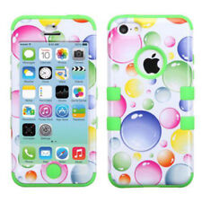 iPhone 4 4S Rubber IMPACT TUFF HYBRID Skin Case Phone Cover Rainbow Bubbles