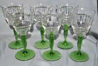 6er Satz Sherrygläser Südweingläser, optisch geblasen, grüner Stiel, 1900 1920