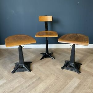 Vintage Singer Stools Industrial Bar Stool Set Of 3 Adjustable Height Antique