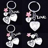 Christmas Xmas Gift For Mom Dad Sister Heart Locket Charm Key Chain Keychain