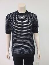 DEREK LAM Black White Honeycomb Knit Short Sleeve Sweater Small EUC