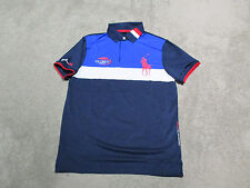 NEW Ralph Lauren RLX Polo Shirt Adult Medium 2015 US Open Big Pony Blue Dri Fit