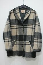 Vintage Woolrich womens Large cardigan plaid jacket wool blend coat beige USA