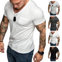 Fashion Mens Short Sleeve Plain Tops Muscle Tee Casual V-neck T Shirt Blouse