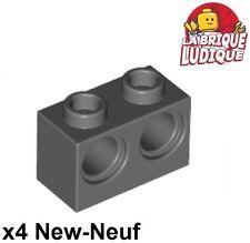 Lego Technic - 4x Brique Brick 1x2 holes gris foncé/dark bluish gray 32000 NEUF