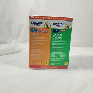 Equate daytime & nighttime relief value pack SEVERE cold & cough 12pks EXP 09/21