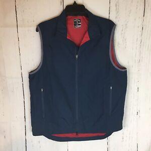 Callaway Golf Vest Men Medium Zip Front 100% Polyester Blue