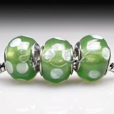 5pcs Hot Silver Murano Glass Lampwork Beads Fit European Bracelet LB0111