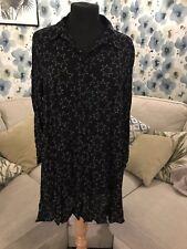 *ZARA WOMAN* swing-hem star print black Viscose tunic, size L (UK 14)