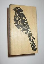 "Swirl BIRD Rubber Stamp Robin Wood Mounted Memory Box Rare 2.5"" High"