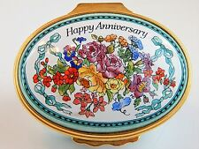 Halcyon Enamel Over Copper Hinged Lid Box - HAPPY ANNIVERSARY - Colorful Flowers