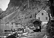Photo. 1860s. Geiranger, Norway.  View - Beach, Boat