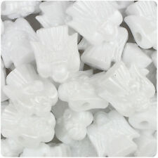 24 White Pearl 22mm Holiday Angel Plastic Pony Beads Made in the USA