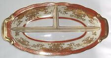 Antique ~Noritake~ Porcelain Oval Handled Divided Serving Dish Gold Gilt ~ EUC