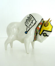 Bison Buffalo White Wings Ceramic Art Sculpture Artist Mariusz Dydo Poland New