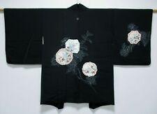 Vintage Japanese Ladies' Black Kimono Haori Eve Jacket 'Flower/Bird Plates' S/M