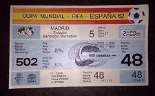 1982 World Cup boletos: - Inglaterra v España (matriz & Filigrana presente) #48