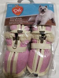 Pet Central Faux Suede Fleece Dog Booties Pink Sheltie Miniture Poodle SzXS Shoe