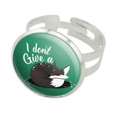 Black Fox I Don't Give A Pun Silver Plated Adjustable Novelty Ring