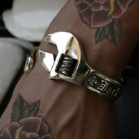 Biker Bangle wrench Spanner Mechanic Skull Ring Gothic Anarchy silver punk men