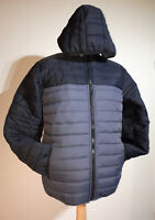 Soul Star Two Tone Padded Jacket With Hood Mens Size XL Grey Blue