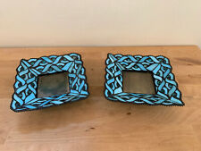 Pair of PartyLite Spring Water Pillar Candle Holders Retired Blue Stained Glass
