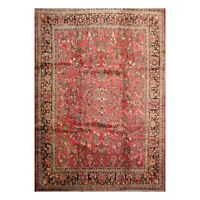 "8'9"" x 10' Hand Knotted Antique Soumak 100% Wool Traditional Area Rug Salmon"