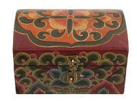 Cofanetto A Ciondolo Tibetano- Mini Tronco IN Legno Dipinto Lotus 15x10cm 5867
