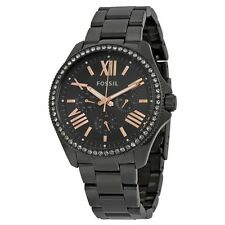 Fossil AM4522 Womens Black Dial Analog Quartz Watch with Stainless Steel Strap