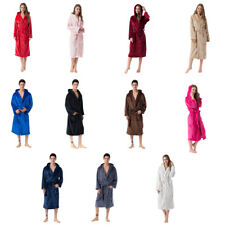Men Lady Luxury Thermal Coral Fleece Dressing Gowns Super Soft Hooded Bathrobe