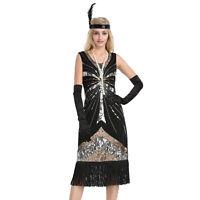 Women's Vintage 1920s Style Gatsby Sequin Flapper Dress Cocktail Party Dresses
