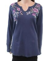 Style & Co. Women Top Blue Size 1X Plus Knit Embroidered Thermal $49 #046