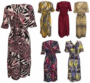 Women Ladies Tie Knot Front Summer Dress Flare Ruched V Neck Neck Maxi Size S-XL