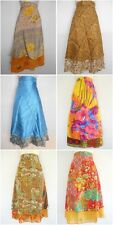 5  Magic Wrap Skirt Vintage Silk Blend Double Layer Reversible Sari Dress Long