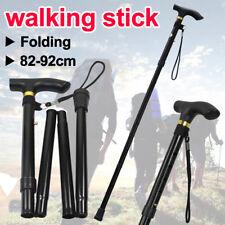 Adjustable Walking Stick Travel Retractable Hike Folding Cane Metal Pole Black