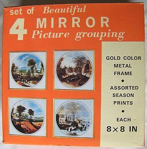 Set of 4 Mirror Picture Grouping Season Prints in Gold Metal Frames 8 x 8 inchs