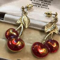 Vintage Gold Tone Cherries Pierced Earrings