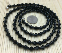 Vintage Necklace Glass faceted Black Bicone Flapper Mourning Beads Silvertone