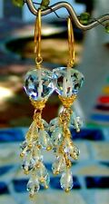 Aquamarine Rock Crystal Gemstone Chandelier Earrings Vermeil Sterling Silver