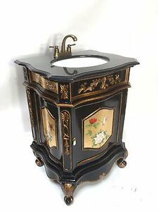 "26"" Oriental furnitue vanity cabinet, Chinese gold leaves hand painted vanity"